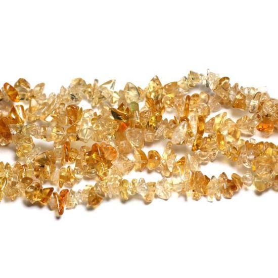 Fil 89cm 280pc env Citrine Rocailles Chips 5-10mm Perles de Pierre