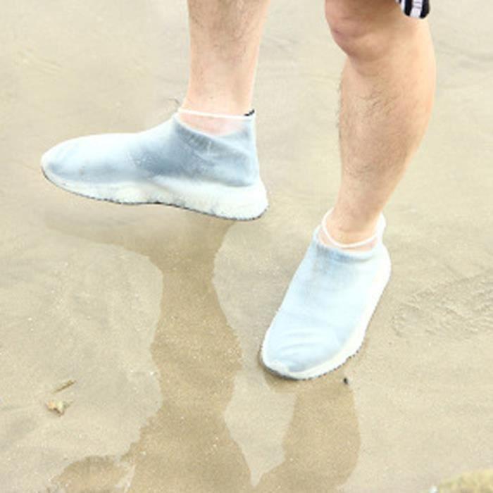 Taille S BLANC Couvre-pied Imperméables Couvre Chaussure Housse Couvre-chaussures en Silicone pour Enfant Mixte