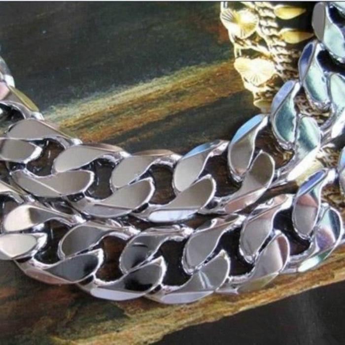 Collier massif en or blanc 18 carats plaqué or 12 mm diamant coupé chaîne cubaine lisse 24 pouces
