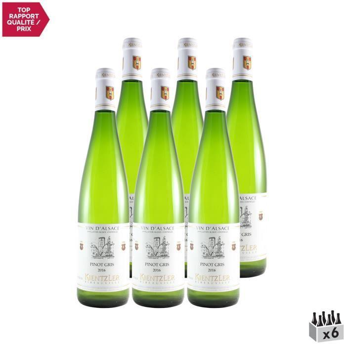 Alsace Pinot Gris Blanc 2016 - Lot de 6x75cl - Domaine Kientzler - Vin AOC Blanc d' Alsace - Cépage Pinot Gris