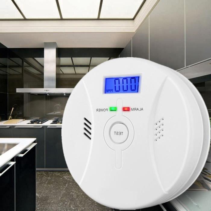 2 en 1 Détecteur de Monoxyde de Carbone CO Gaz Avertissement d'alarme de fumée Surveillance Capteur Empoisonnement pour Maison