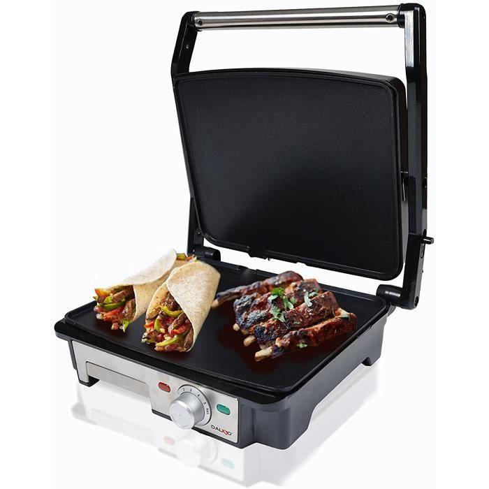 Dalkyo Sogo MB-30 Panini Grill, grill électrique 2000 W, surface de 28 x 22,5 cm, avec plaques antiadhésif et 180º ouvert, acier ino