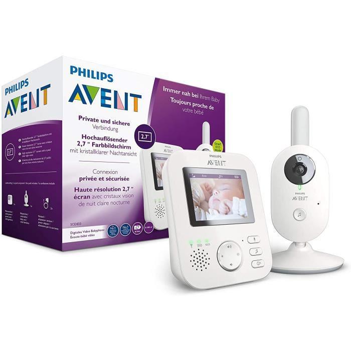 Philips AVENT Babyphone videacuteo SCD833-26 - Eacutecran Couleur 2,7- - Mode Eco - Fonction interphone - Blanc-Gris