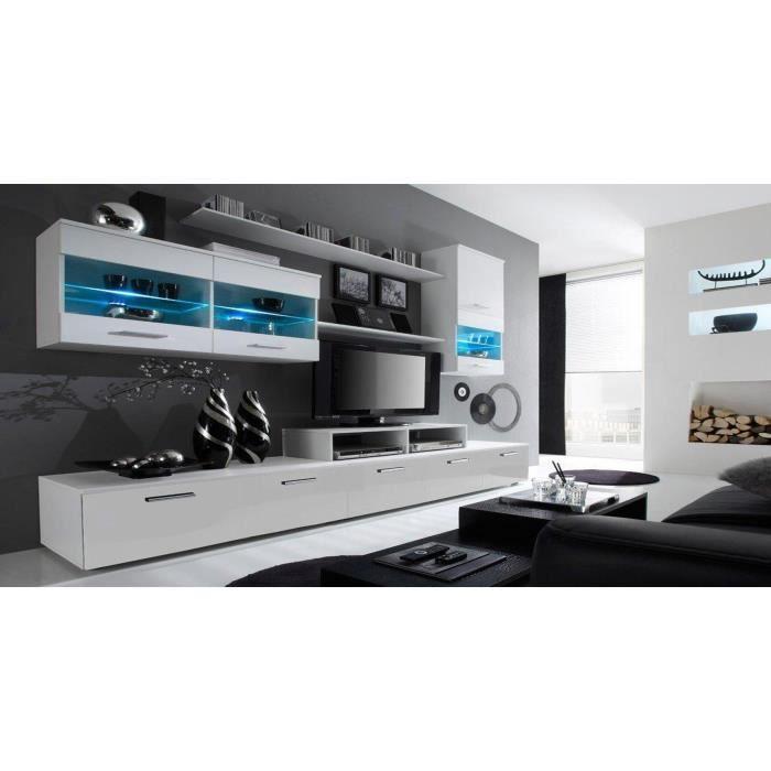 Ensemble de Meubles - Ensemble de séjour avec LEDs, Blanc Mate et Blanc Laqué, Dimensions : 250x194x42 cm de profondeur.