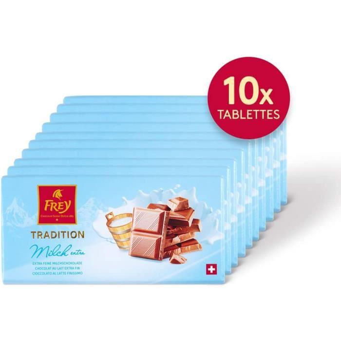 Frey 10x Tablette de chocolat au lait extra fin 100g - Fabriqué en Suisse - 31% de cacao - Lot de 10 tablettes - Certifié UTZ - Gran