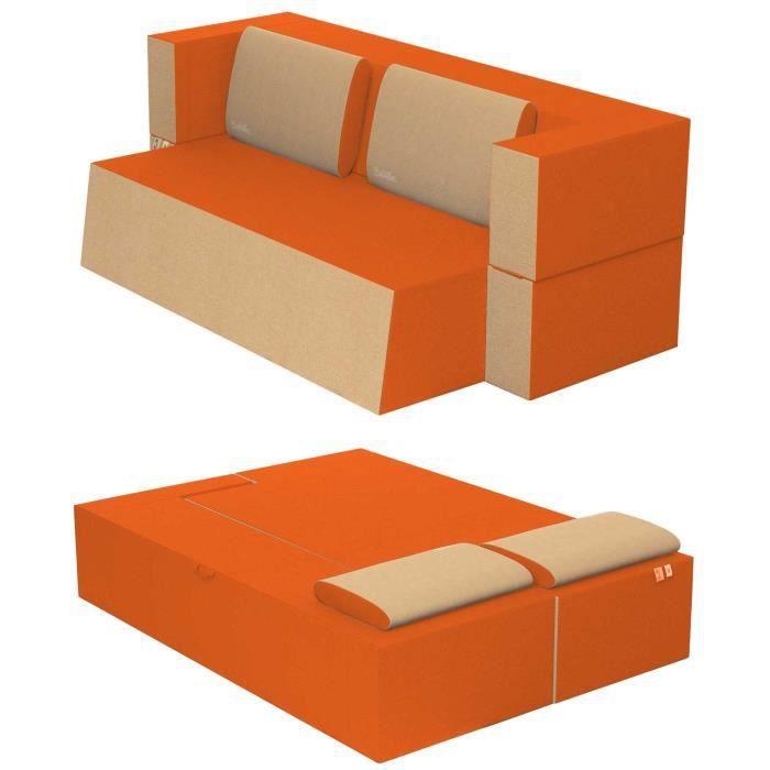 Canapé Lit Praticho Convertible Modulable Réversible 2 places -Tissu dehoussable et lavable Couleur Orange