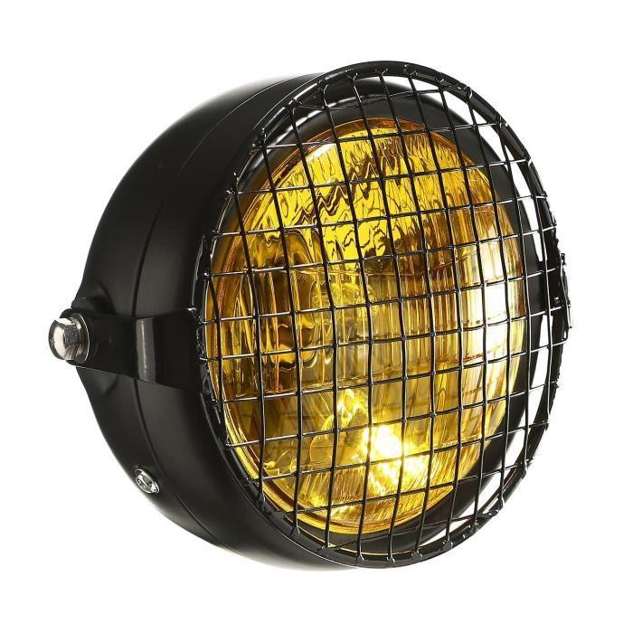CICMOD Moto Phare Salut / Lo 6 1/2 -Universel Noir Universel intégrant Les phares Grill Bobber Chopper Custom ect (C)