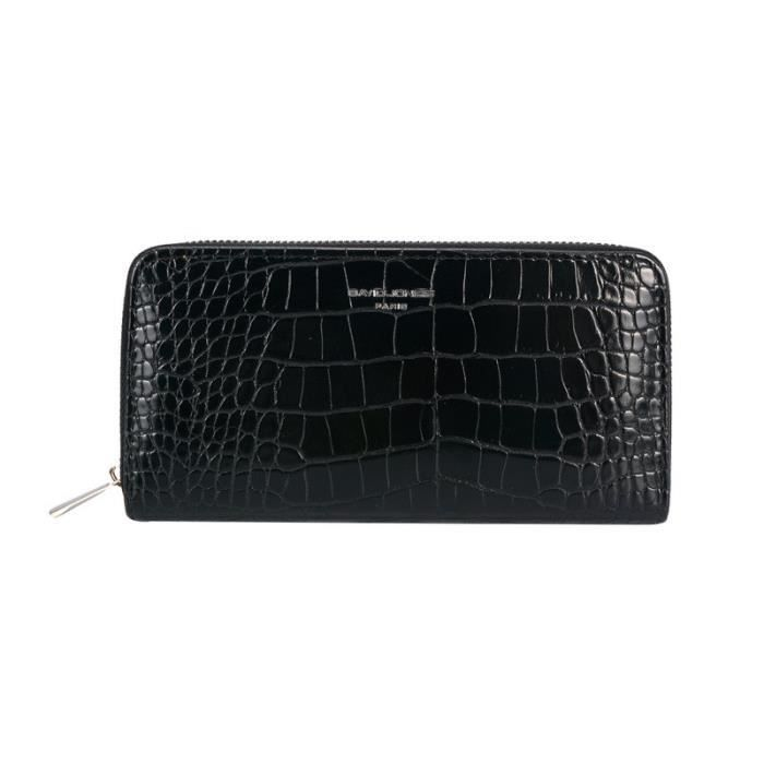 Portefeuille compagnon simili croco - David Jones - Couleur:Noir
