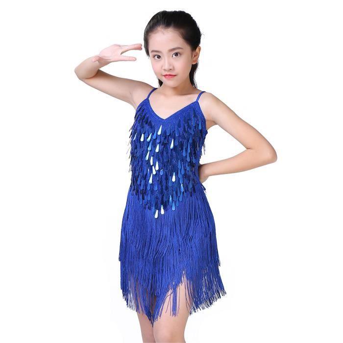 Enfant Fille Robe de Danse Latine Jupe À Sequin Gland Salsa Ballet Tango Jupe Frange Robe de Bal Robe Princesse Carnaval 3-10 Ans