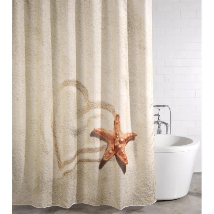 Rideau de douche Sandy 180 x 200 cm - de haute qualité - 12 anneaux inclus - imperméable - effet anti-moisissures