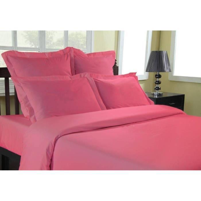 Drap plat Percale 80 fils/cm² Sensei - Sensei La Maison du Coton - Rose Indien - Taille : 240x310