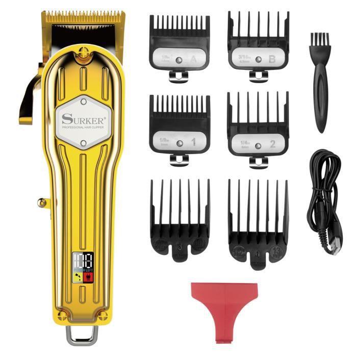 SURKER Tondeuse à Chevuex pour Hommes Professionnelle Tondeuse Cheveux Tondeuse Barbe Rechargeable avec Ecran LCD Sans Fil