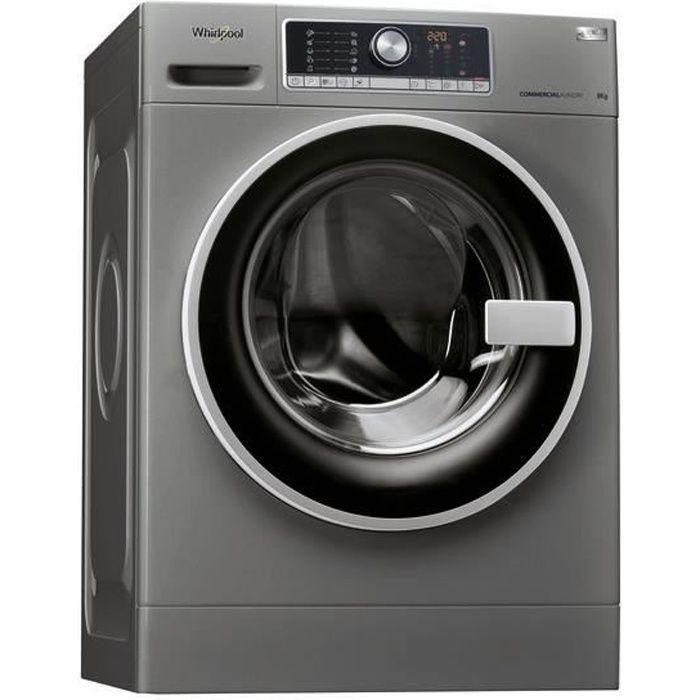 Whirlpool AWG 812 S-PRO, Autonome, Charge avant, Noir, Gris, Toucher, Gauche, Noir-Argent