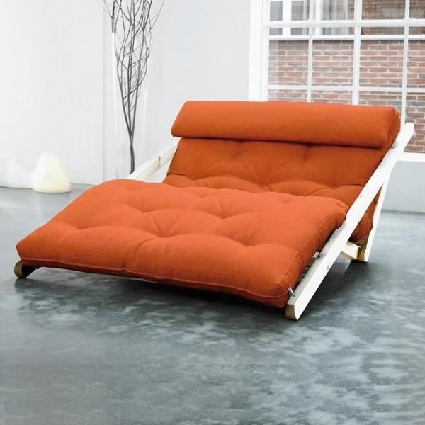 Convertible figo 120 naturel futon orange achat vente - Futon canape convertible ...