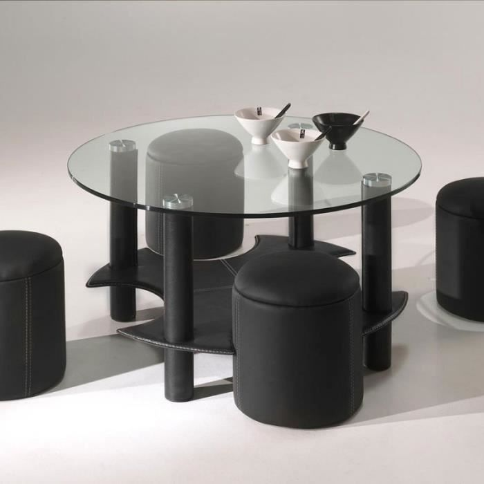 Table de salon ronde en verre et pu design bentys 2 noir - Table basse ronde en verre design ...