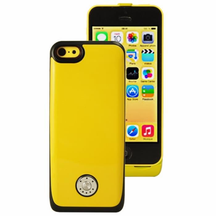 coque batterie rechargeable pour iphone 5 5s jaune achat. Black Bedroom Furniture Sets. Home Design Ideas