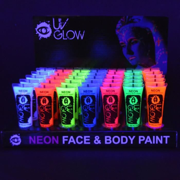 uv glow lot 24x10ml peinture n on fluo corps achat vente paillettes corps uv glow lot 24. Black Bedroom Furniture Sets. Home Design Ideas