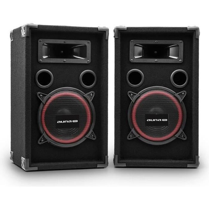 malone paire enceintes dj pa sono disco haut parleurs 2 voies subwoofer 20cm 500w max noir. Black Bedroom Furniture Sets. Home Design Ideas