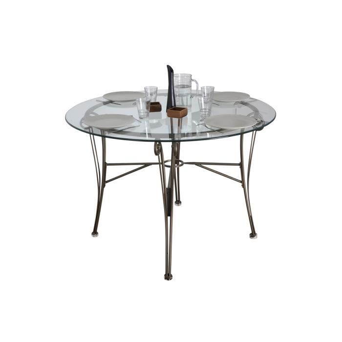 table de repas ronde en verre m tal noir coffee achat vente table a manger sans chaises. Black Bedroom Furniture Sets. Home Design Ideas