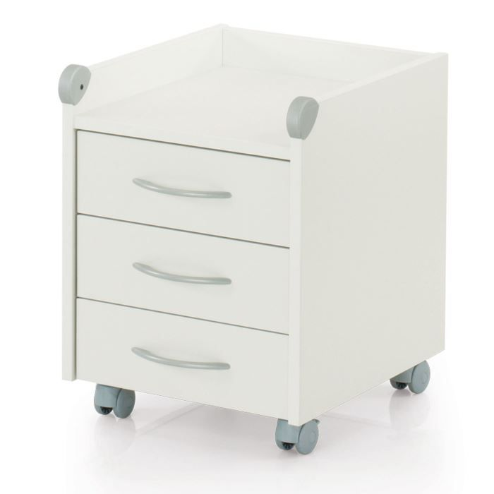 meuble sur roulettes roll on 3 tiroirs blanc ke achat vente caisson de bureau meuble sur. Black Bedroom Furniture Sets. Home Design Ideas