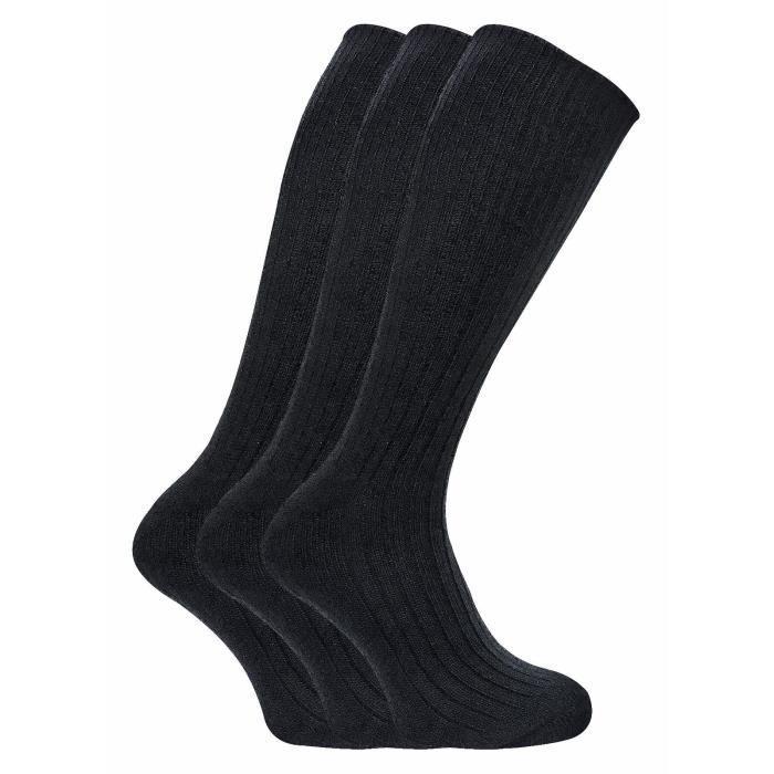 3 Paire De Chaussettes Chaussette Sans Caoutchouc Extra Plus Taille Noir 39 à 46