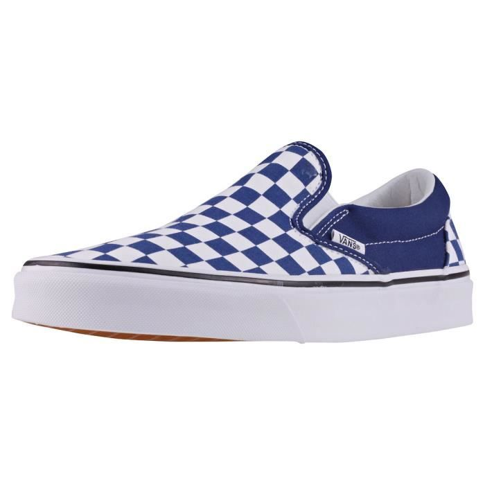 Vans Classic Slip-on Checkerboard Hommes Chaussures sans lacets Royal Blanc  - 7 UK