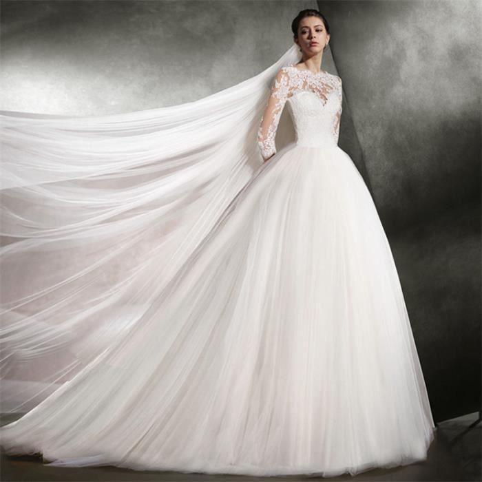 Robe De Mariee Mariage Princesse Femme Dentelle Tulle Appliques Manches Longues Blanc Achat Vente Robe De Mariee Cdiscount