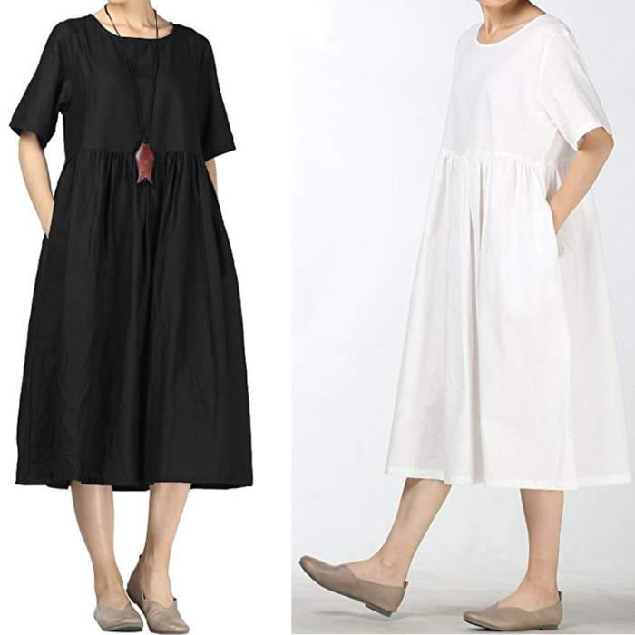 Robe Lin Coton Femmes D Ete Midi Robes Avec Pochesblanc Blanc Achat Vente Robe Bientot Le Black Friday Cdiscount