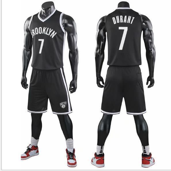 NBA Star Brooklyn Nets Kevin Durant Maillot et Shorts de basketball Homme Noir
