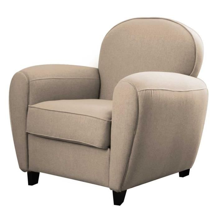 fauteuil club en lin beige cooper achat vente fauteuil beige cdiscount. Black Bedroom Furniture Sets. Home Design Ideas