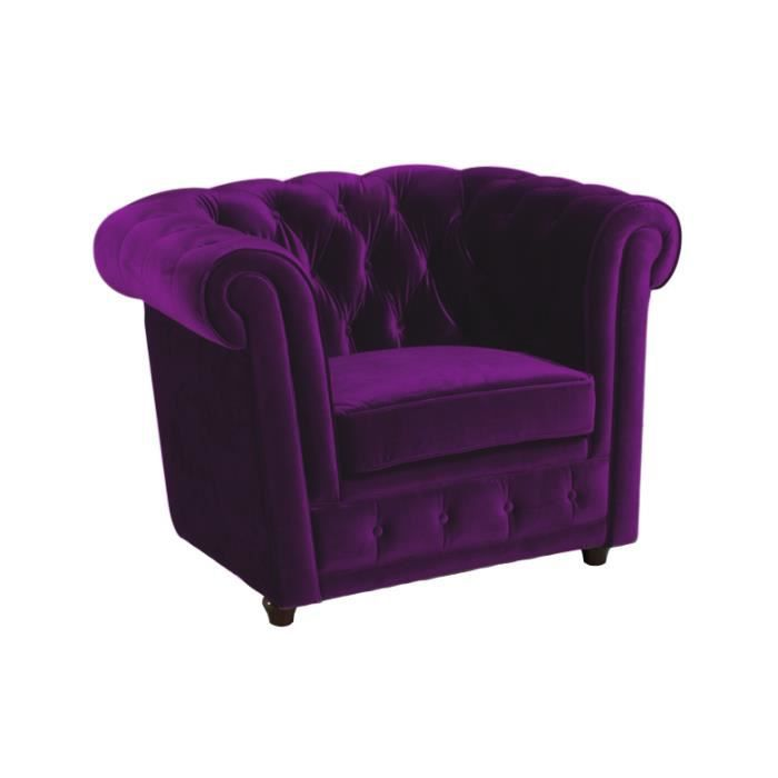 fauteuil chesterfield en velours violet achat vente fauteuil cdiscount. Black Bedroom Furniture Sets. Home Design Ideas