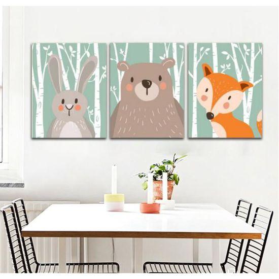 Sans Cadre Nordique Animal Peinture Mignon Dessin Animé Impressions Sur Toile Pour Enfants Chambre Mur Photo30x40cmx3no Frame