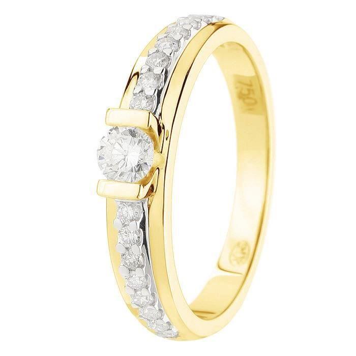 MONTE CARLO STAR - Solitaire en Or Jaune 18 Carats et Diamants Accompagné - Femme