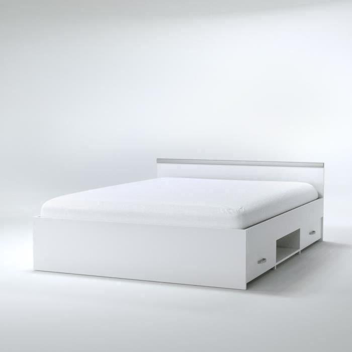ZODIAC Lit adulte contemporain blanc mat - l 140 x L 190 cm
