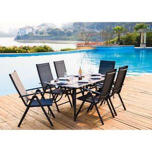 Ensemble table et chaise de jardin Ensemble repas de jardin en acier et textilène - T