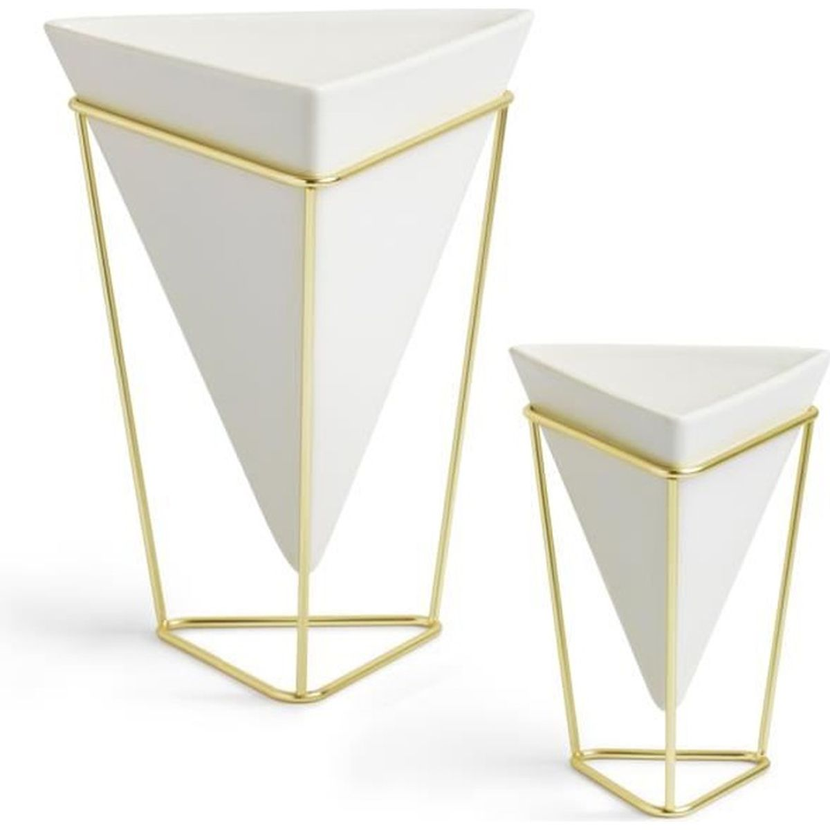 Set de 2 cache pot trigg blanc laiton achat vente for Cache pots design interieur