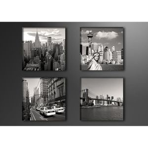 Toile imprimee new york achat vente toile imprimee new for Tableau paris londres new york