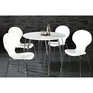 Table Ronde Vicky Blanc Laque Achat Vente Table A Manger