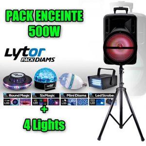 PACK SONO PACK Enceinte DJOON 500W LED  + PIED + PACK DIAMS