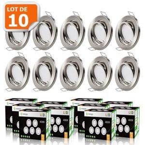 SPOTS - LIGNE DE SPOTS LOT DE 10 SPOT LED ENCASTRABLE COMPLETE ORIENTABLE