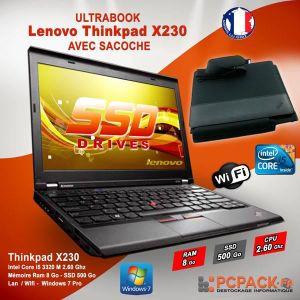 ORDINATEUR PORTABLE LENOVO X230 i5 2.6GHz 8Go 500Go SSD WIFI Windows 7