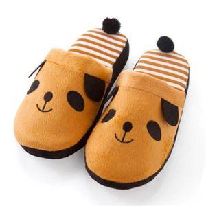 Chou Peluche Panda Chaussons,Pantoufles Fille pour 22-25cm