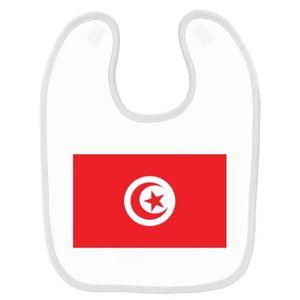 BAVOIR Bavoir bébé imprimé drapeau tunisie blanc