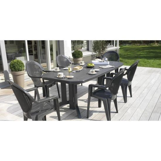 Salon de jardin Vega Anthracite : Table 2m20 + 6 fauteuils