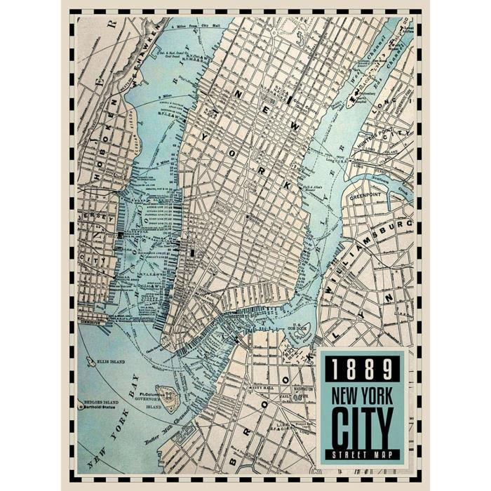 Affiche papier - Carte de New-York City, 1889 - Braun Studio - 60x80 cm