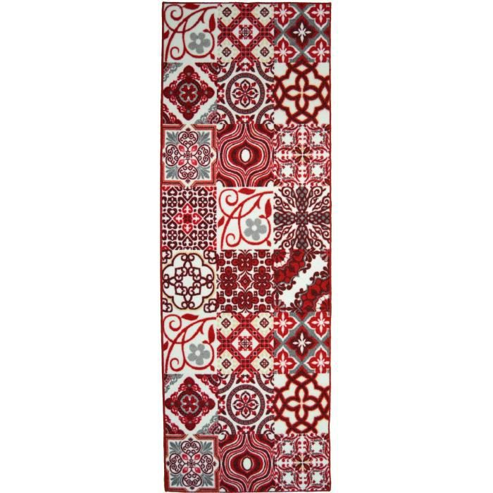 utopia tapis de couloir carreaux de ciment 67x180 cm rouge et blanc achat vente tapis de. Black Bedroom Furniture Sets. Home Design Ideas