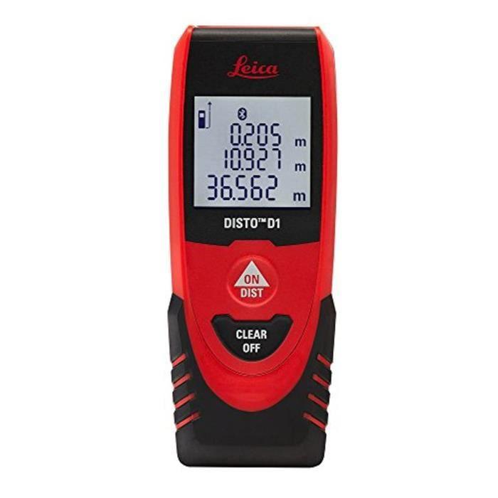 Leica Télémètre Laser Disto D1 Bluetooth 40 m, Noir/Rouge