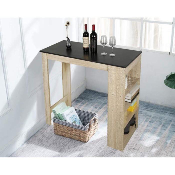 Table bar de 2 à 4 personnes style contemporain avec rangements Décor chêne et Noir - L 115 cm