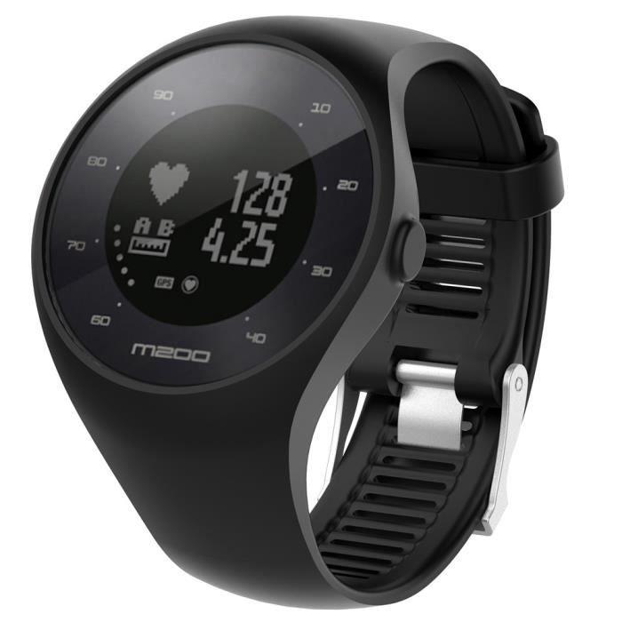 bracelet de montre vendu seul Bracelet de montre en caoutchouc de silicone souple pour montre de fitness Polar M200 BK