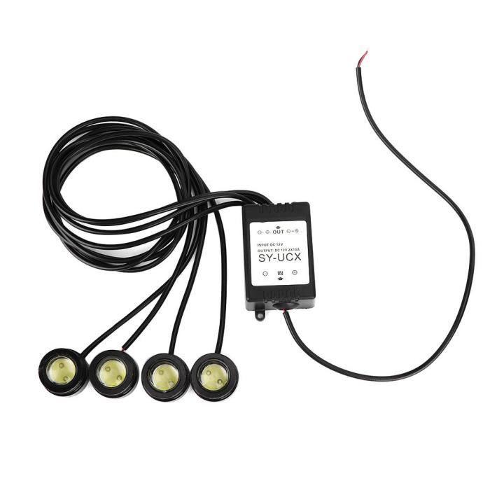Xuayn 12V 6W 4In1 Led Eagle Eye Lampe Stroboscopique D'Urgence Sans Fil Drl Télécommande Feu De Jour (16 Modes Flash)